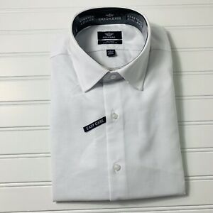 Men-039-s-Fitted-Stretch-Collar-Dockers-Dress-Shirt-Long-Sleeve-White-Size-Large