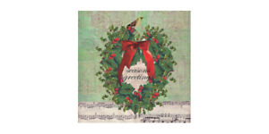 Christmas-Carol-Paper-Napkins-Music-Green-Wreath-Beverage-Size-20-per-pack
