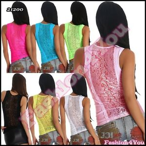 Sexy-Ladies-Lace-Top-Women-039-s-Summer-Fitted-Tank-Vest-Top-Mesh-One-Size-6-8-10-UK