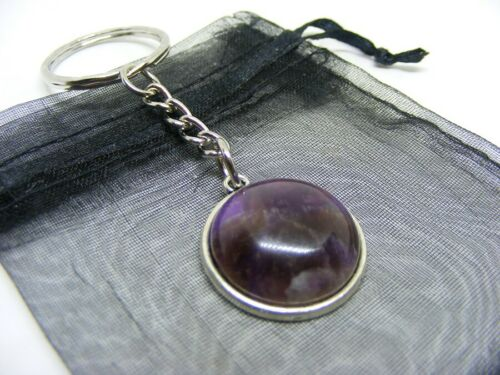 Natural Amethyst Crystal Cabochon Charm Keyring With Gift Bag