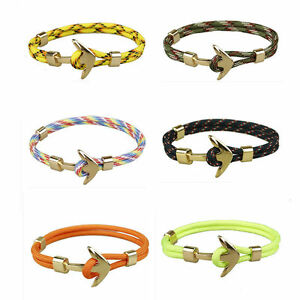 Handmade-Men-039-s-Gold-Alloy-Anchor-Polyester-Rope-Wristband-Bracelet-Jewelry