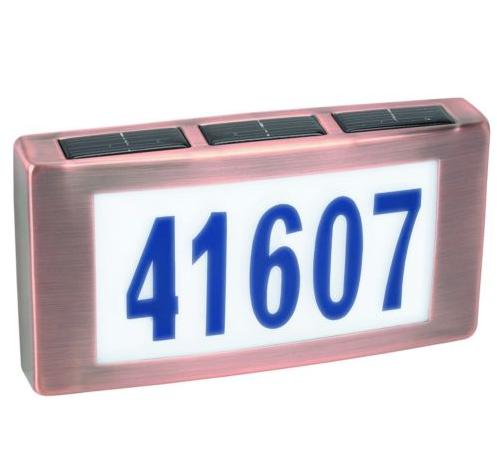 Solar Led Light House Street Address Numbers Sign Illuminated
