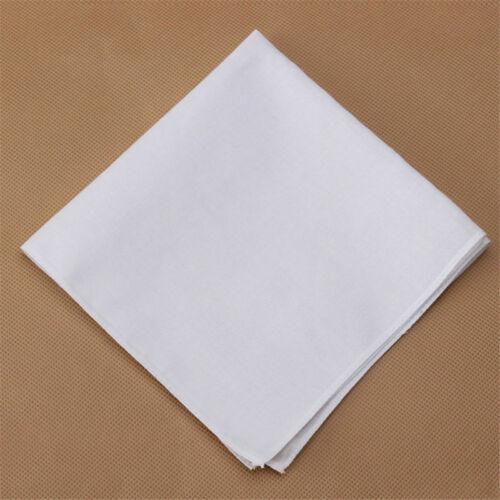 Men Pocket Plain White Cotton Handkerchiefs Hankies Sweat Face Towel 1//2//4Pcs