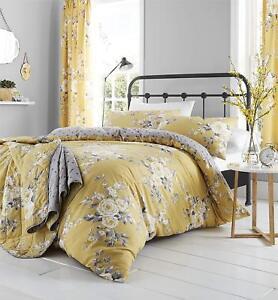 Catherine-Lansfield-Canterbury-ocre-Floral-Funda-De-Edredon-Reversible-Cama-Set