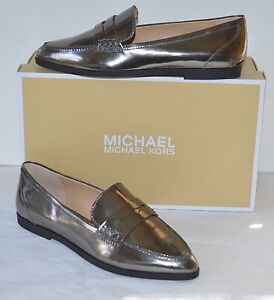 8712f3d3c6f New  140 Michael Kors Connor Loafer Metallic Gunmetal Leather Silver ...