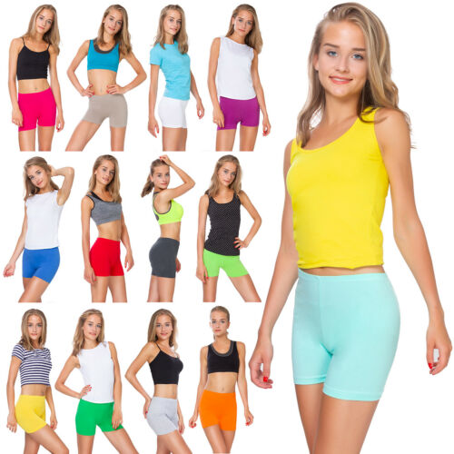 Womens Cotton Shorts Sports Knickers Stretchy Ladies Leggings Sizes 8-22 PSL5
