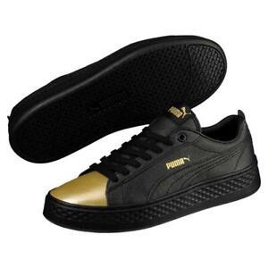 Puma-Smash-LX-Plataforma-Negro-Oro-Opul-Zapatillas-Cordones-Sports-Talla-3-5-6
