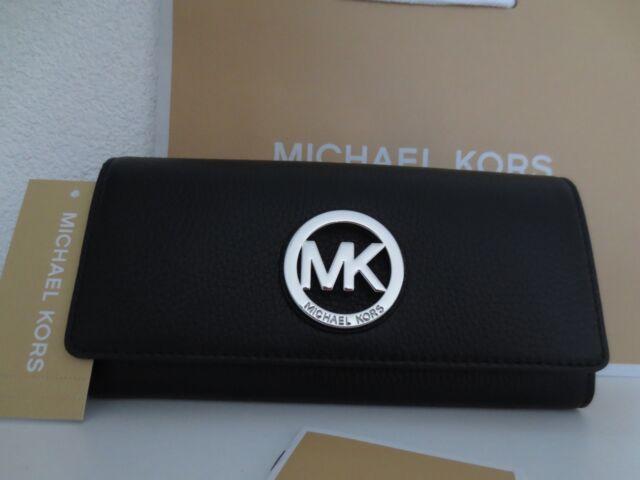 Michael Kors MK Geldbörse Portemonnaie FULTON Black / Silber Schwarz Geldbeutel