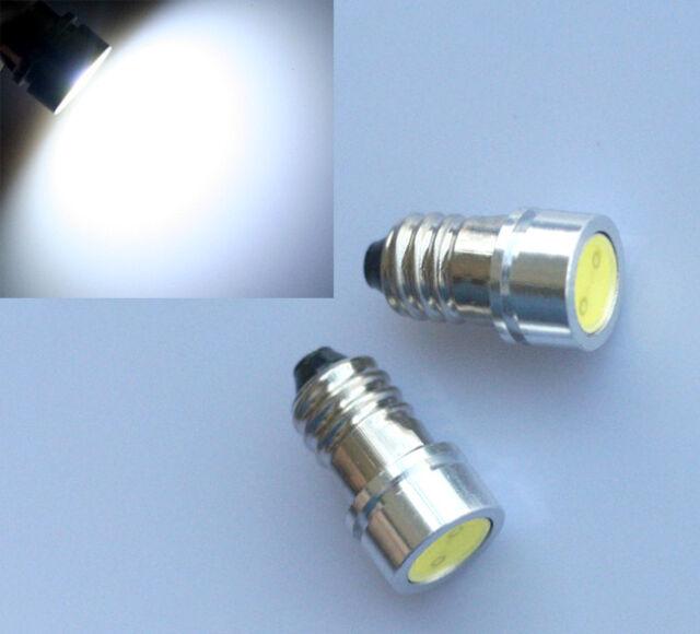 10x Auto SMD LED E10 Lampe Schraubgewinde 6V DC Xenon weiss Fahrrad COB 6000K