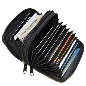 Black-Zipper-Credit-Card-Holder-Organizer-Women-039-s-Accordion-Fine-Leather-Wallet