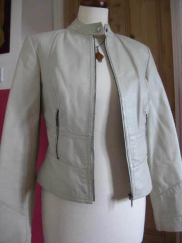 Jakke Slim Real 6 Ivory Uk Leather Next Biker Gray Størrelse Ladies Racer Fit 8 tx07HwS5q