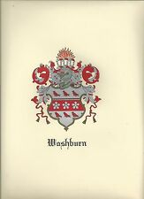 SALE! Lot of 4 Coat of Arms Washburn Family Crest, genealogy