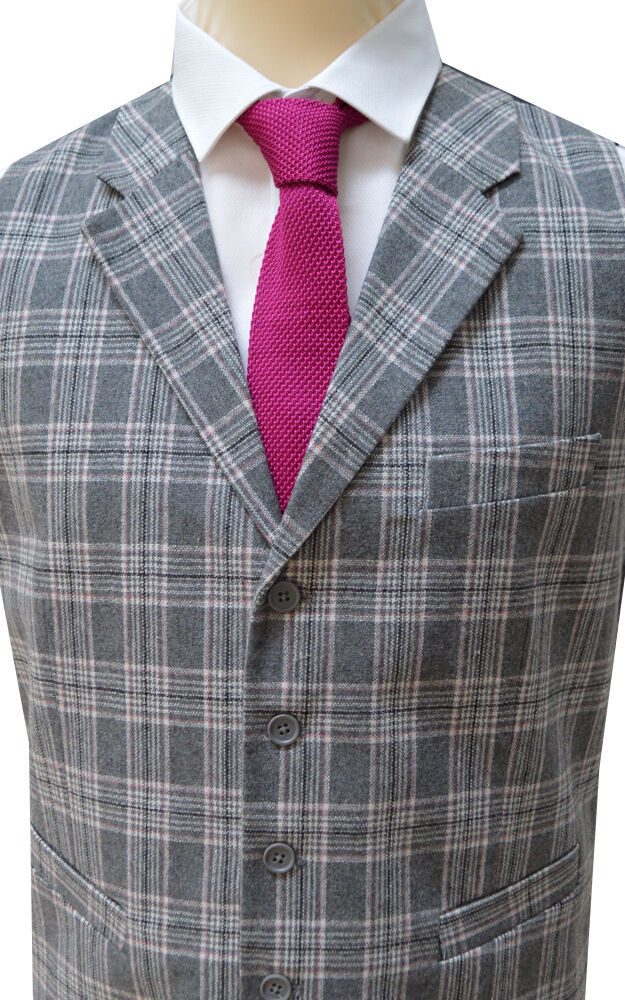 (113/1) Grey/Pink Collared Tailored Fit Wool Handle Waistcoat with Satin Backing