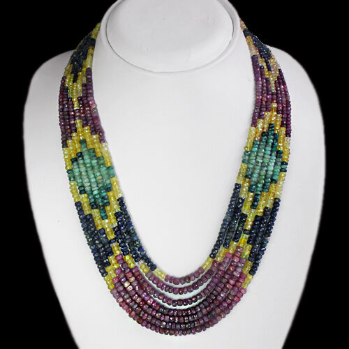 EMERALD /& SAPPHIRE BEADS NECKLACE TOP QUALITY FACETED 578.00 CTS NATURAL RUBY