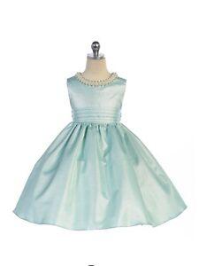 Stunning-Sage-Satin-Flower-Girl-Pageant-Dress-w-Beaded-Neckline-Crayon-Kids