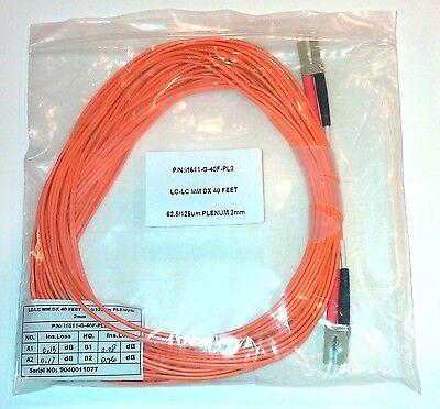 LC-LC Duplex Multimode Cable 62.5//125um Plenum 2 mm 40 Ft new in bag