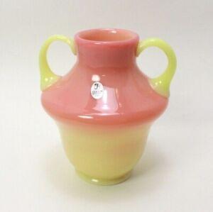 Rare-Fenton-Burmese-Signed-Dave-Fetty-2006-Two-Handled-Vase