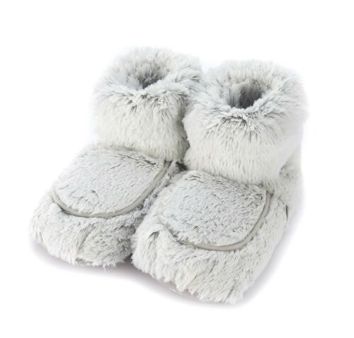 NEW Warmies Cozy Body Grey Marshmallow Soft Fur Microwavable Slipper Boots