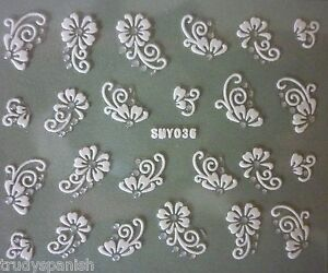 3D-Nail-Art-Lace-Stickers-Decals-WHITE-SILVER-Flowers-Rhinestone-Gel-Polish-36