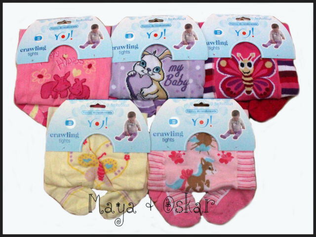 BABY GIRLS COTTON CRAWLING ANTISLIP TIGHTS RUBBERISED KNEES INSTEP SOLE 6-12-18m