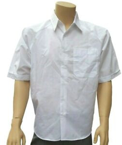 CATHEDRAL 3 x Mens Short Sleeved Dress Shirt White Polyester Cotton Seconds