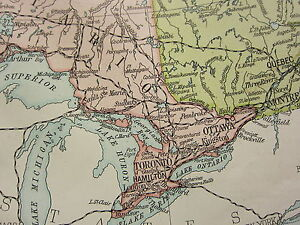 image is loading 1919 large map canada amp newfoundland quebec ontario