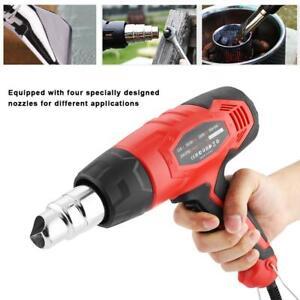 2000W Electric Heat Gun Adjustable Hot Air Heating Tool 4x Nozzle Power Heater