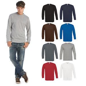 B-amp-C-Collection-Exact-190-Long-Sleeve-T-Shirt-TU005-Mens-Plain-Cotton-Basic-Top