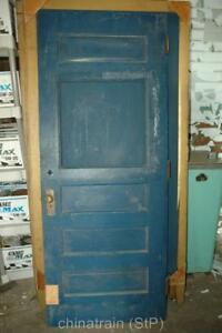 Antique-Vintage-Solid-Wood-4-Panel-amp-Window-Exterior-House-Door-80x31-25-034