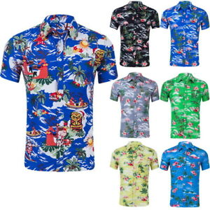 6db1c718 Image is loading Summer-Mens-Short-Sleeve-Hawaiian-Shirts-Floral-Print-