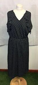 Vero-Moda-Black-Spotty-Sleeveless-V-Neck-Size-XL-UK-Size-16-Midi-Shift-Dress