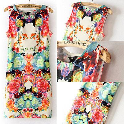 New Hot Retro Flower Print Sexy Womens Sleeveless Slim Chiffon Dress Mini Dress