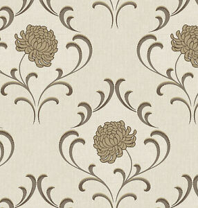 Image Is Loading Beige Brown Flower Wallpaper Floral Off White Textured