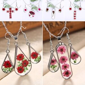 Natural-Dried-Flower-Rose-Glass-Drop-Pendant-Necklace-Earrings-Jewelery-Set-Gift