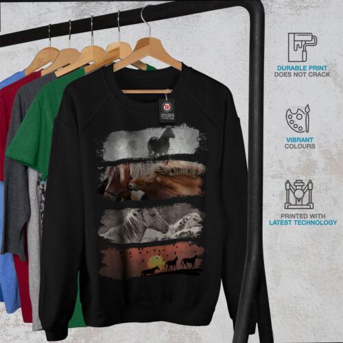 Wildlife Casual Pullover Jumper Wellcoda Beast Wild Horses Womens Sweatshirt