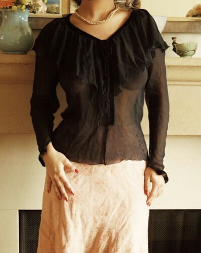 1970s 80s Chloé Black Sheer Silk Chiffon Sailor Bl