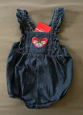 NWT Hanna Andersson Butterfly Chambray Denim Shortalls Baby Toddler Girl