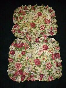 Pr Ralph Lauren Constance Post Road Floral Ruffled Std Pillow Shams 100% Cotton