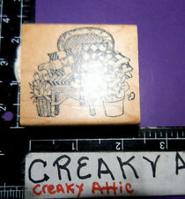 CHAIR WICKER PILLOWS PLANTS RUBBER STAMP DELAFIELD RETIRED G622