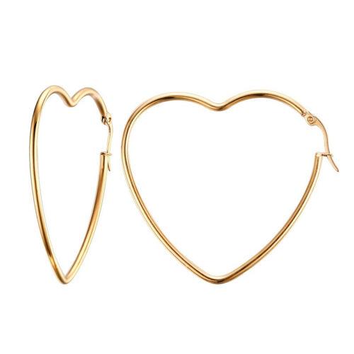 Señora creolen corazón de oro 38 mm acero inoxidable 316l aretes criollos ohrhänger Gold