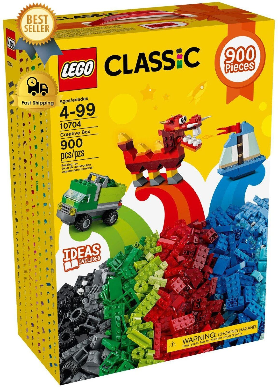 Lego Classic 900 Pieces Fun Bright Colours Encourages Open Ended Creativity.