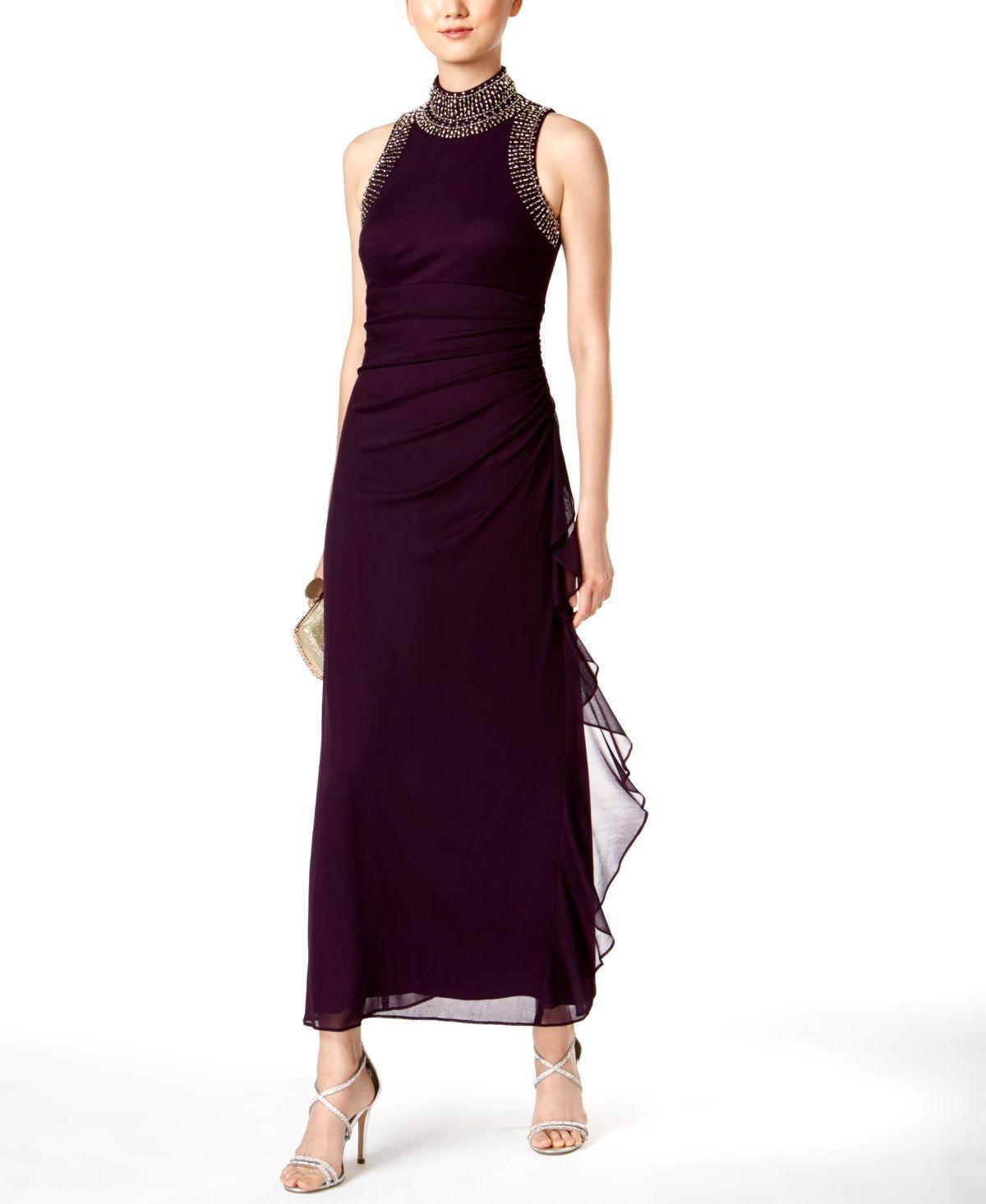 BETSY & ADAM damen lila SLEEVELESS MANDARIN COLLAR BEADED DRESS Größe 8P