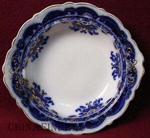 Image is loading JOHNSON-BROTHERS-china-OREGON-flow-blue-GOLD-ACCENT- & JOHNSON BROTHERS china OREGON flow blue GOLD ACCENT pattern ROUND ...