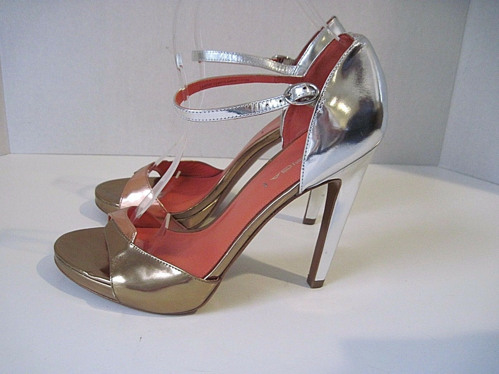 VIA SPIGA gold Silver Leather Pumps Heels Ankle Straps Size US 8 EU 39 NEW