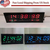 Digital Large Big Digits Led Wall Desk Clock With Calendar Temperature -us