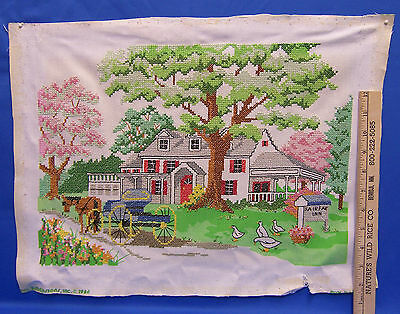 Completed Cross Stitch Needlepoint Embroidery Fairfax Inn Horse & Carriage