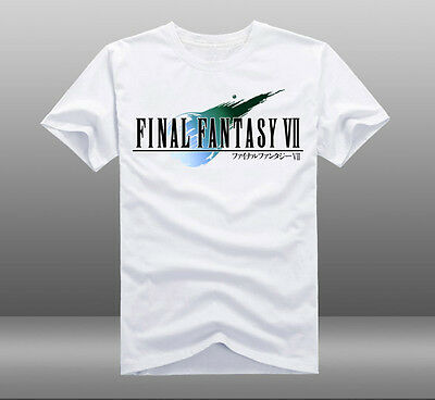 Game Final Fantasy VII FF7 Logo White Cotton Short Sleeve Crew Neck T-shirt Tops