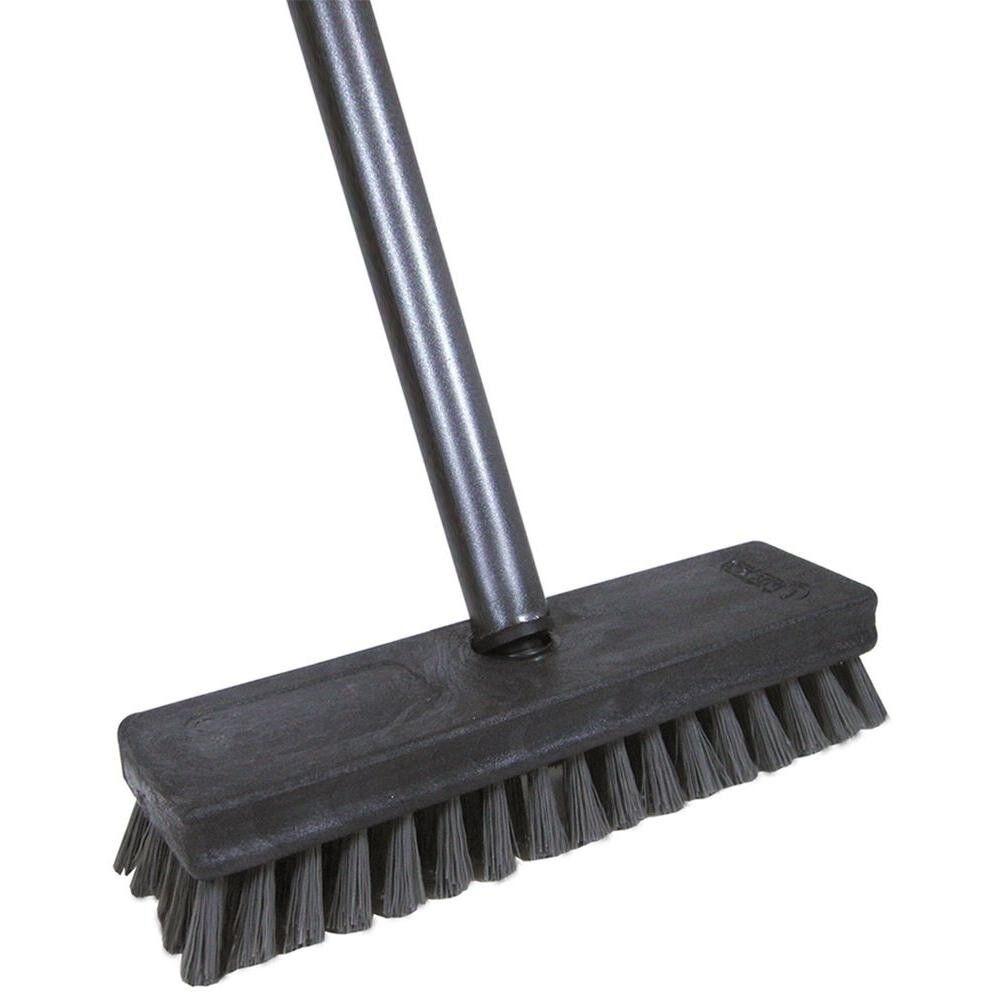 Professional Deck Scrub Brush 4 ft Steel Handle Garage