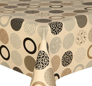 Etonnant Image Is Loading PVC TABLE CLOTH SPHERE NATURAL FUNKY CIRCLES CREAM