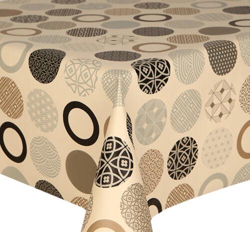 PVC Table Nappe Sphère naturelle Funky Cercles Crème Noir Argent Essuyer Capable cover